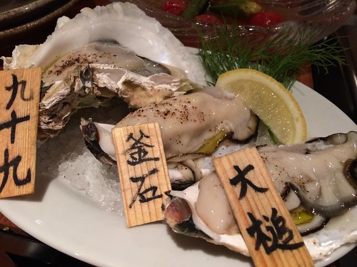 生牡蠣3点盛り(大槌、釜石、五島列島)@かき殻荘