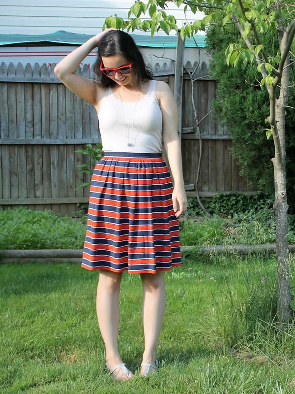 Striped Thrifted J. Crew Skirt