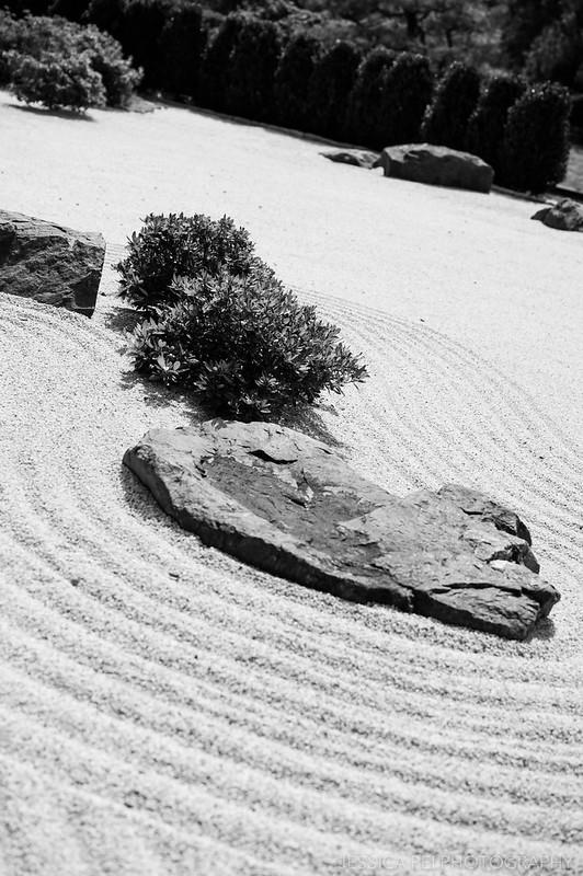 Japanese zen garden black white nature