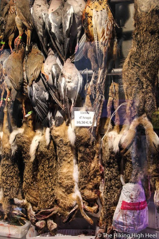 Frisches Wild auf dem Mercat de la Boqueria (Mercat de Sant Josep) in Barcelona