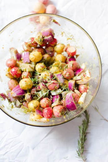 Roasted Baby Potatoes and Radish