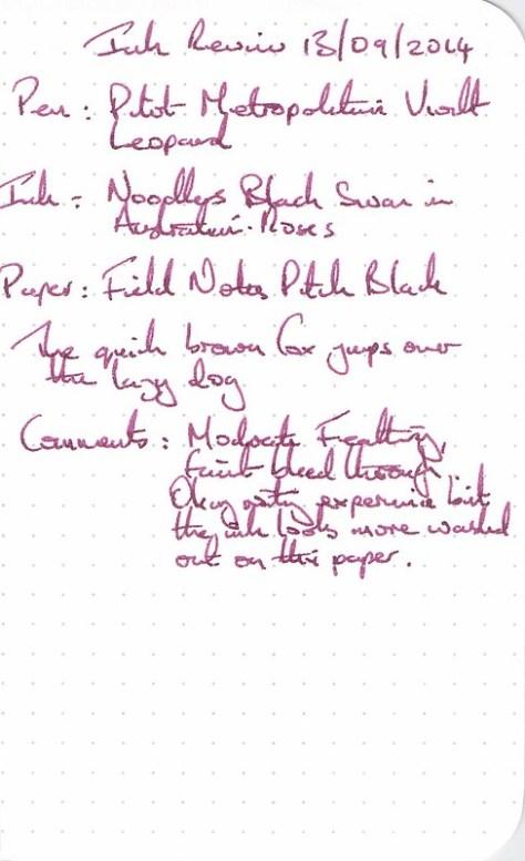 Noodler's Black Swan in Austrialian Roses - Field Notes - Ink Review