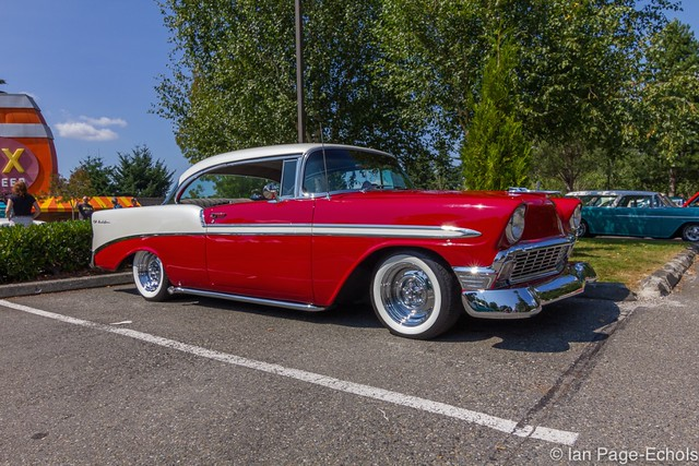 Mild Custom Red and White 1956 Chevy