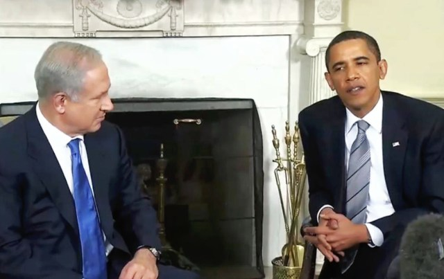President Barack Obama with Israeli PM Benjamin Netanyahu in the Oval Office