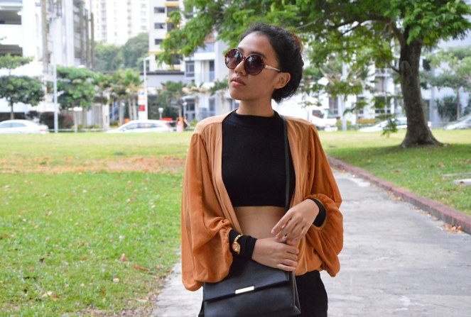 black crop top, round sunglasses, long sleeve turtleneck top, loose cardigan