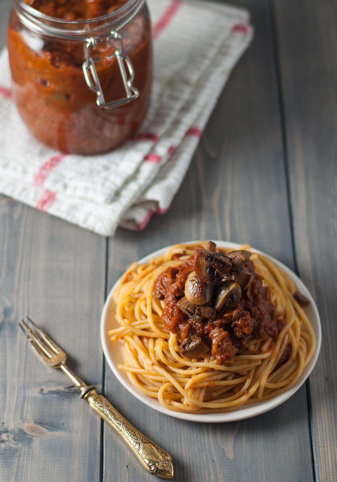 On top of spaghetti--is mushroom marinara!