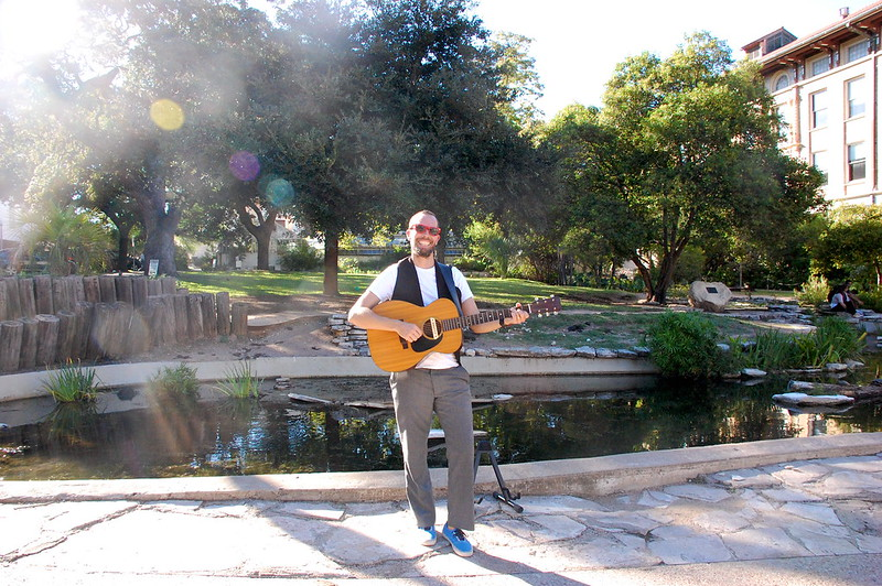 j w guitar infront of turtle pond