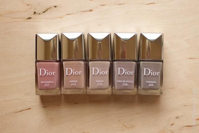 12 Dior #206 Pied de Poule comparison Dior #257 Incognito, #413 Grege, #210 Yacht, #306 Trianon