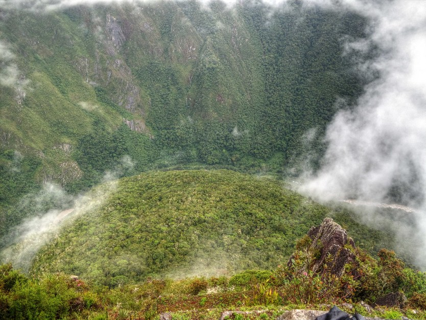 Looking down on the Urubamba River from Huayna Picchu.