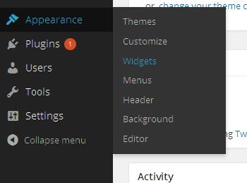 Navigate to appearance > widget