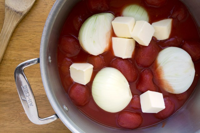 plum tomatoes, butter, onion