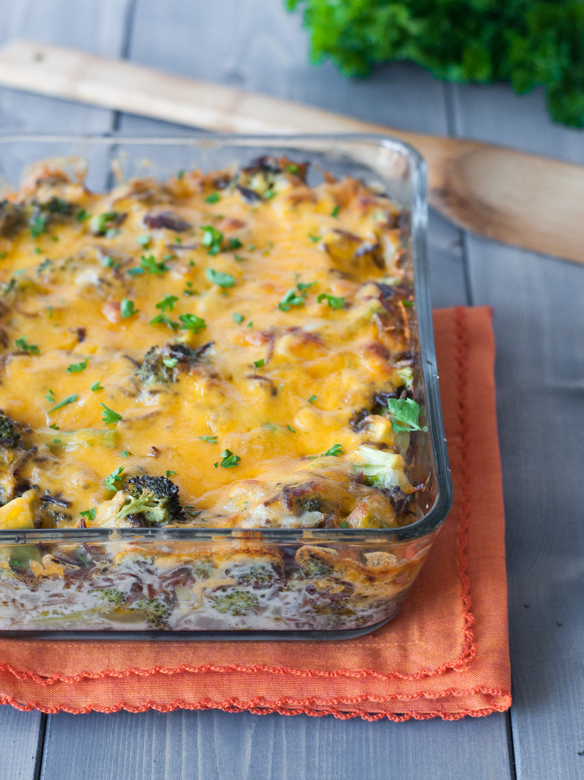 Broccoli Cheddar Wild Rice Bake | recipe at Natural Comfort Kitchen