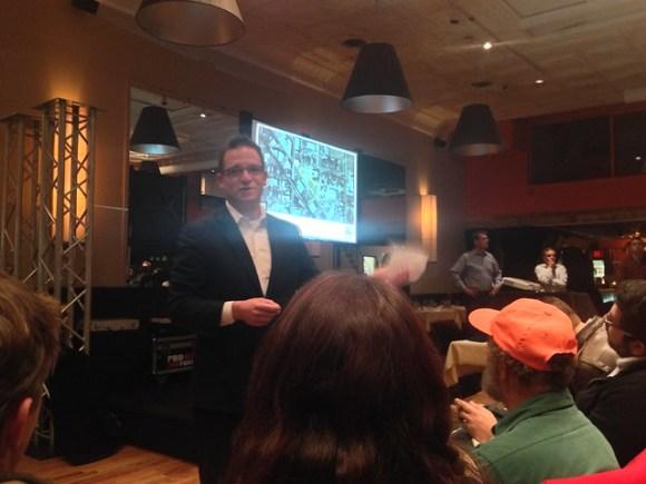 "1st Ward Alderman Proco ""Joe"" Moreno gracefully – given the circumstances – moderates the meeting."