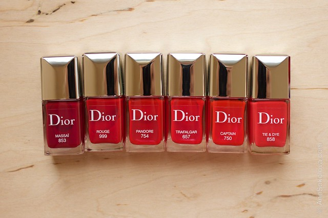 Dior #853 Massai comparison Dior #999 Rouge, 754 Pandore, #657 Trafalgar, #750 Captain, #858 Tie&Dye
