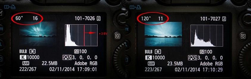 twee stops belichtingscorrectie door de belichtingstijd te verdubbelen en het diafragma 1 stop te openen