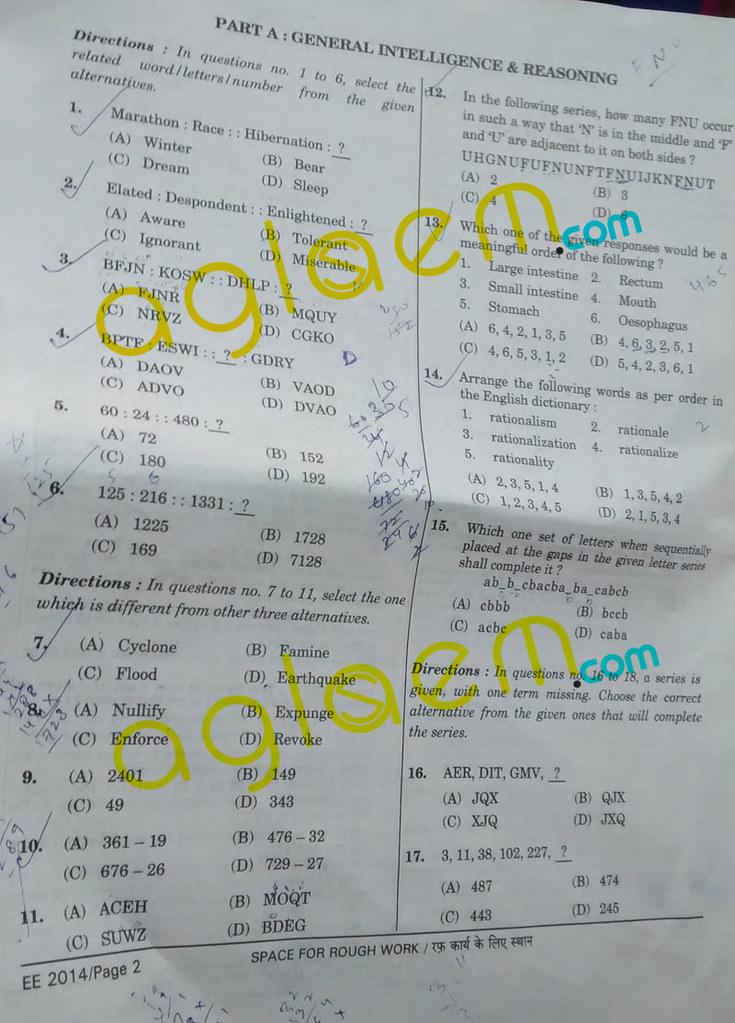 SSC CGL 2014 Tier I Question Paper - Code 987 RH 1