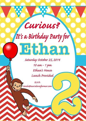 curious george birthday party - nurse loves farmer, Birthday invitations