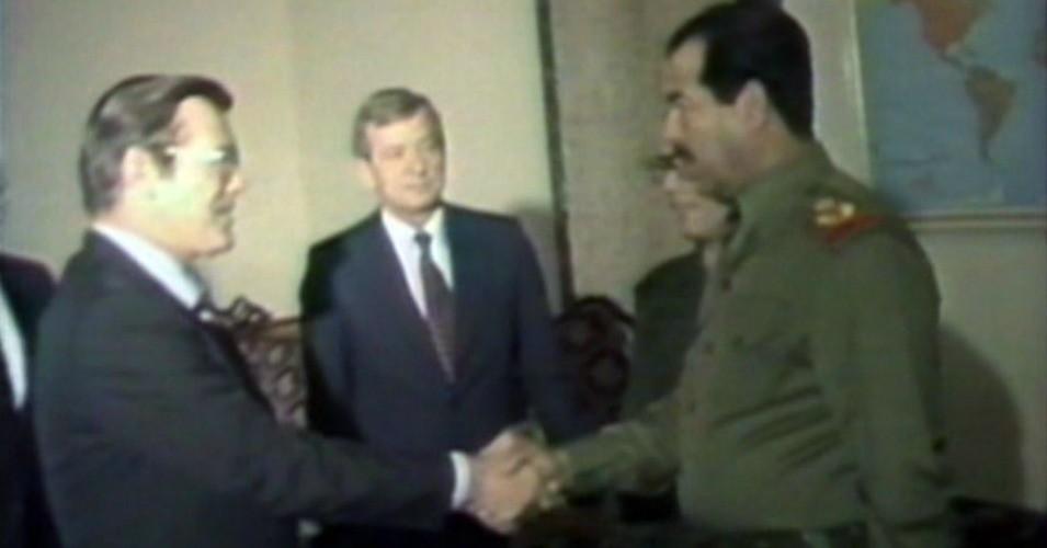 Donald Rumsfeld Greets Saddam Hussein