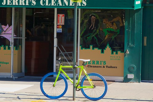 Technicolor bicycle, on its own