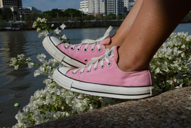 pink converse sneakers, Brisbane river