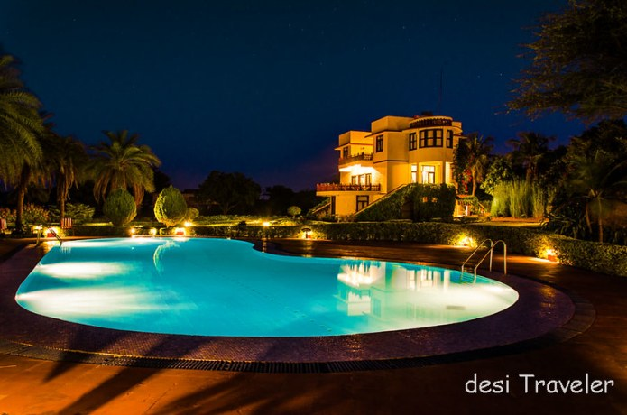 Pushkar Resort Swimming Pool in Night