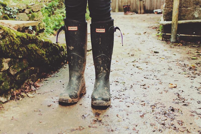 Muddy wellies