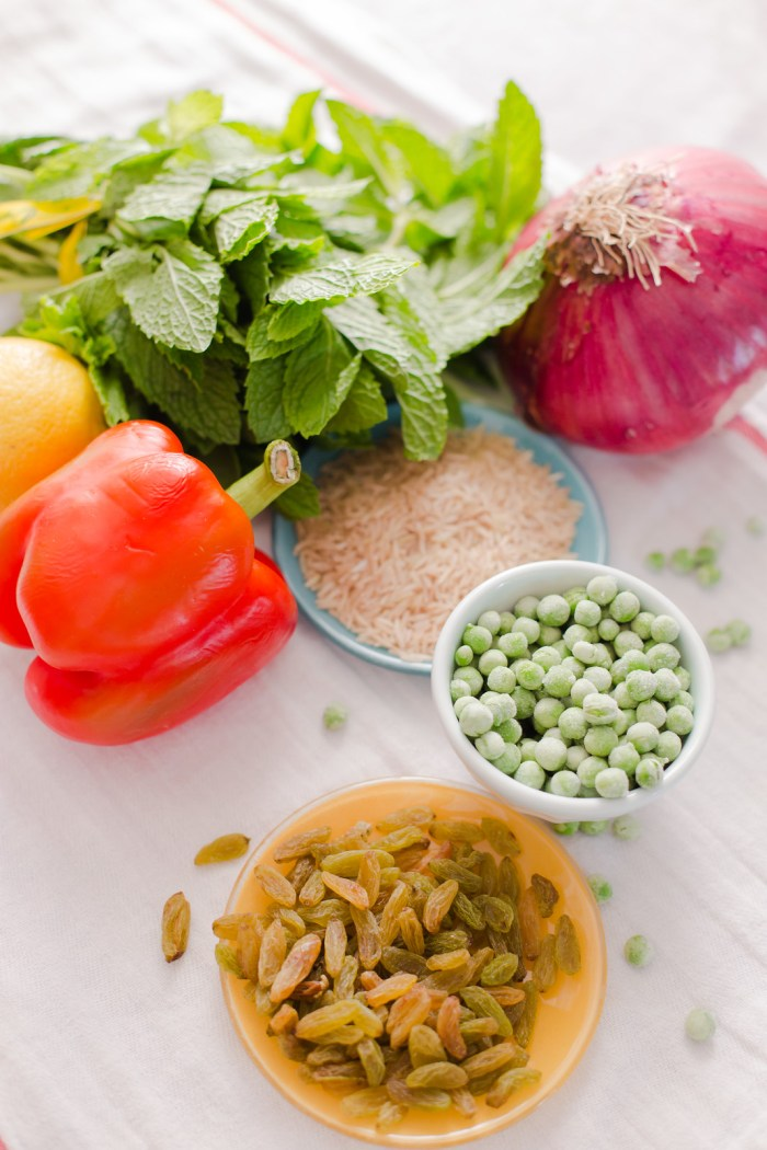 Rice, Peas, Mint and Raisins