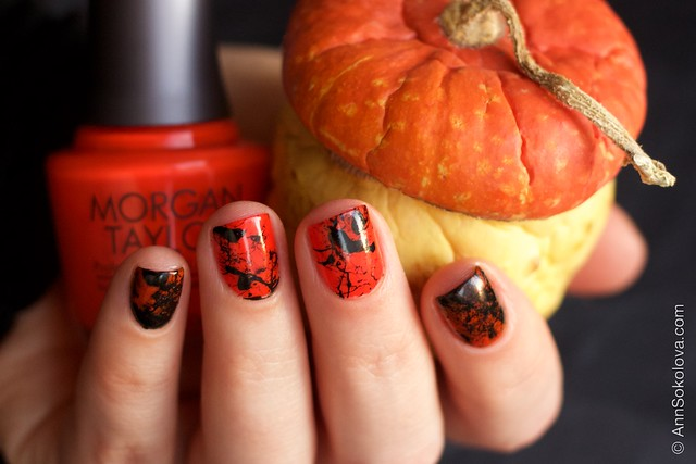 08 Morgan Taylor Halloween Collection 2014   Orange Crush swatches splatter nails