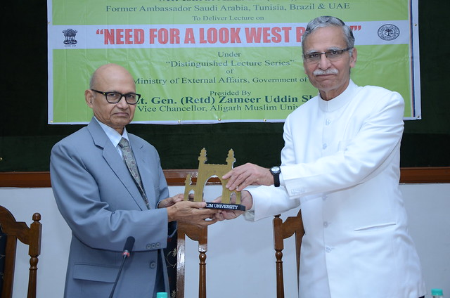 AMU Vice Chancellor (right) welcoming Mr. Ishrat Aziz.