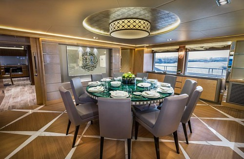 The dining area onboard Majesty 155 (M/Y Sehamia). _________ #GulfCraft #MajestyYachts #Majesty155  _________ #superyacht #boating #friends #interior #boatlife #yacht #yachting #people #nature #live #love #rich #famous #lifestyle #exclusive #vip #dubai #u