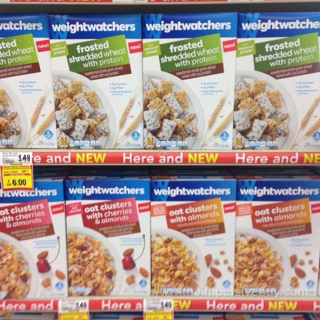 Weight Watchers Frosted Shredded Wheat with Protein, Oat Cluster with Cherries & Almonds, and Oat Clusts with Almonds