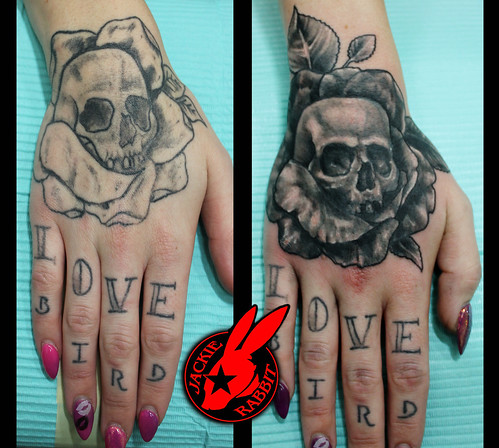 Skull Rose Hand Cover Up Tattoo by Jackie Rabbit