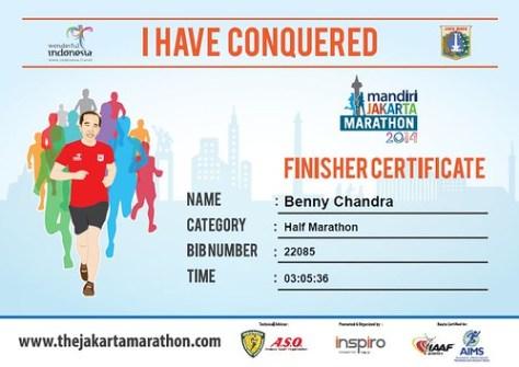 Jakarta Marathon 2014 Certificate