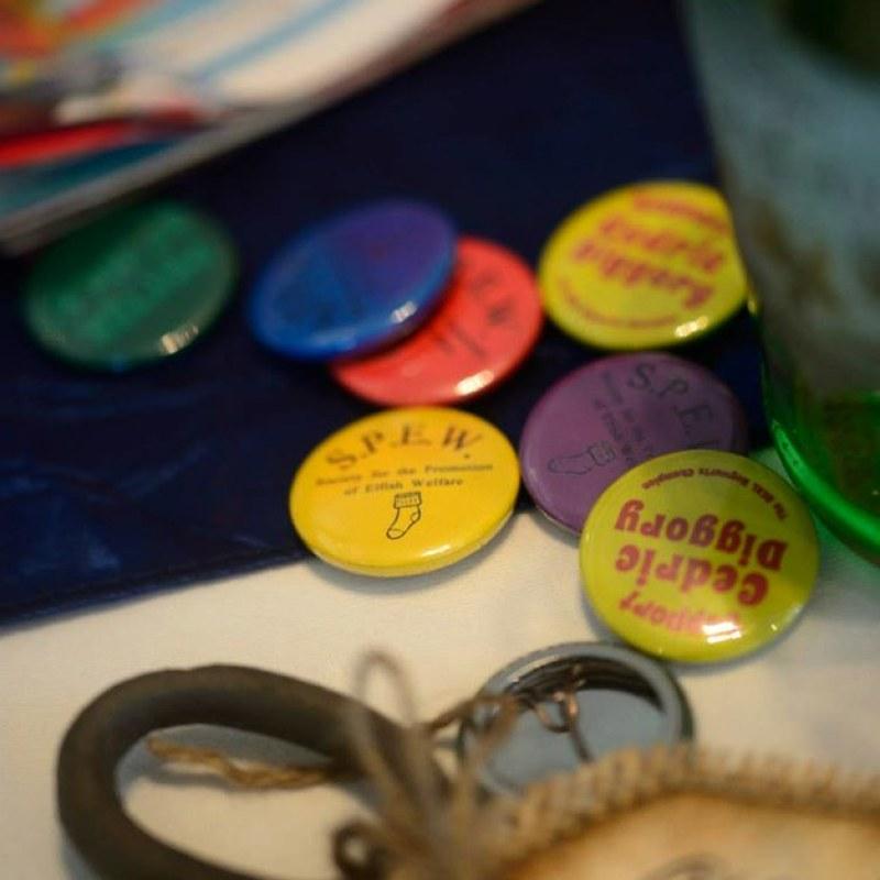 Badges at this Scottish Harry Potter wedding on @offbeatbride