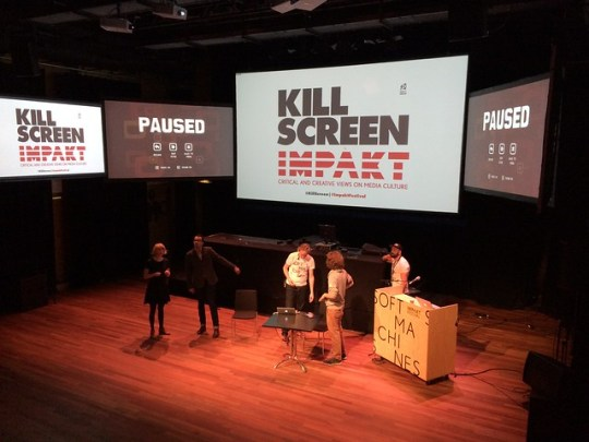 Setting up for Kill Screen panel on games and affect at IMPAKT festival