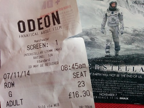 Interstellar IMAX ticket