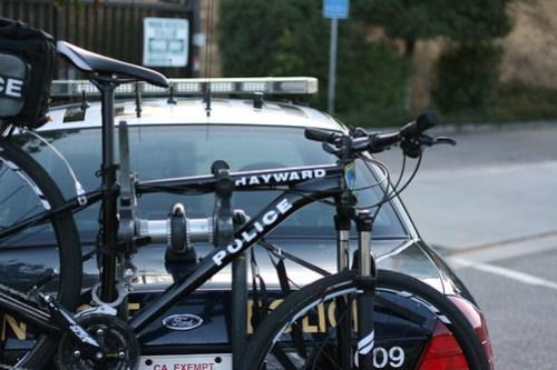 Hayward police bike on a San Jose police car?