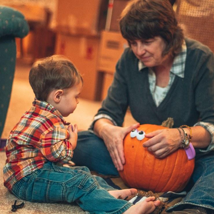 Grandma and Micah and the pumpkin