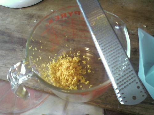 Zesting the yuzu and lemon
