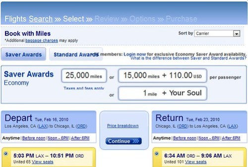 United's Cash Plus Points Option