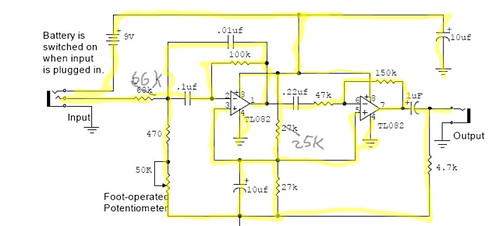 Simple Wah Circuit Schematic using the TL082
