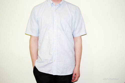 MKL示範「條紋牛津衫」(藍白條)正面照