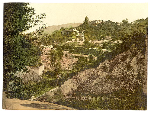[Terraced hillside with buildings and trees, unidentified location] (LOC)