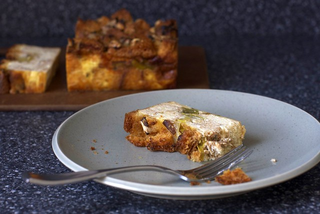 slice of leek bread pudding