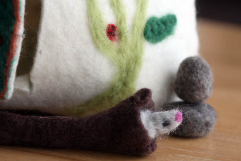 felted gnome house