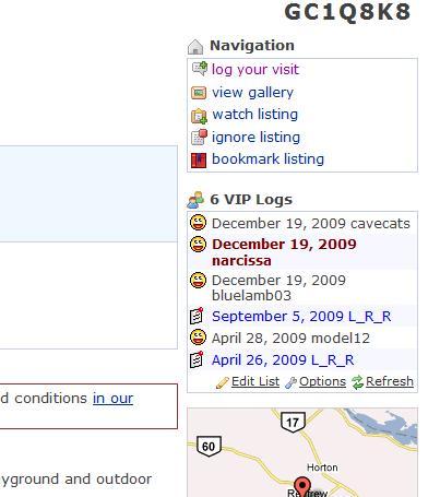 geocaching vip list screenshot