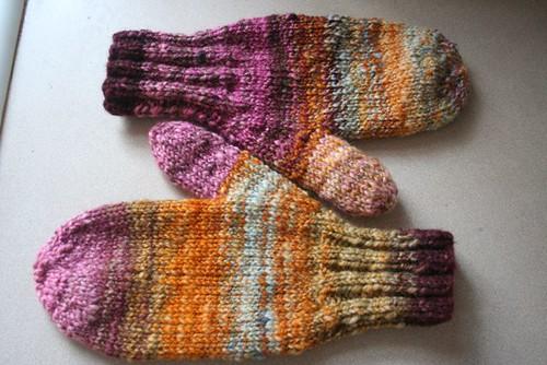 knitted: handspun mittens