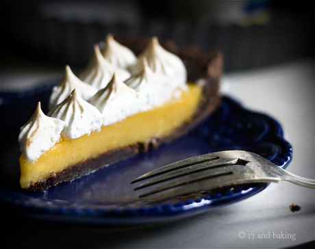 Tangerine Meringue Tart with Chocolate Crust