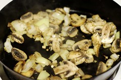 sauteing onions and mushrooms