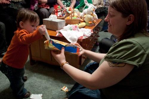 Hannie unwraps Little People